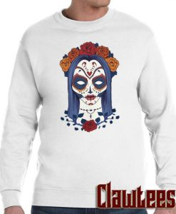 Woman Skull Face with Roses Flowers Posh Sweatshirt