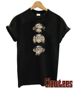 3 Wise Monkeys Cute Animal Graphic T-Shirt